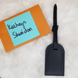 NEW LOUIS VUITTON LARGE BLACK LEATHER LUGGAGE TAG